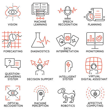 communication capability: Vector set of 16 thin icons related to artificial intelligence and data science. Mono line pictograms and infographics design elements - part 1