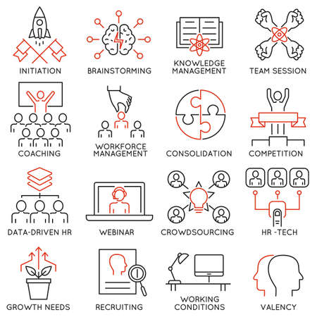 Vector set of 16 linear thin icons related to striving for success, leadership development, career progress and personal training. Mono line pictograms and infographics design elements - part 2 Illustration