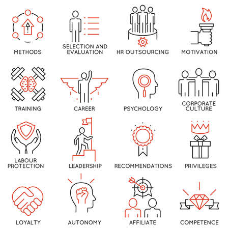 probation: Vector set of 16 linear thin icons related to striving for success, leadership development, career progress and personal training. Mono line pictograms and infographics design elements - part 1