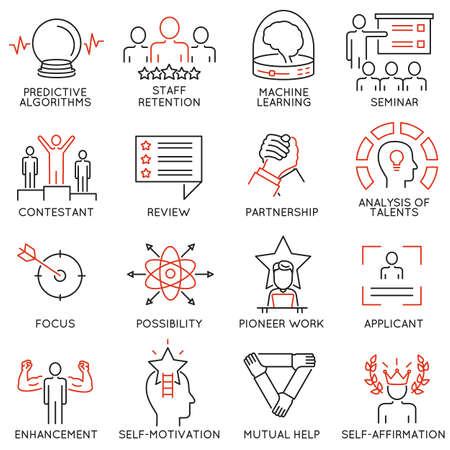 set of 16 linear thin icons related to striving for success, leadership development, career progress and personal training. Mono line pictograms and infographics design elements Illustration
