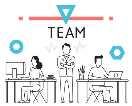 incarnation: Linear Concept for Business People Teamwork, Human Resources, Career Opportunities, Team Skills, HR Management - for website and landing page