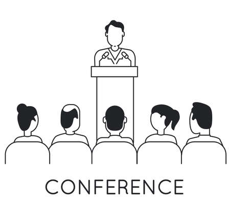 persuasiveness: Linear Concept of Speaker at Business Conference and Presentation. Audience and Participants Illustration