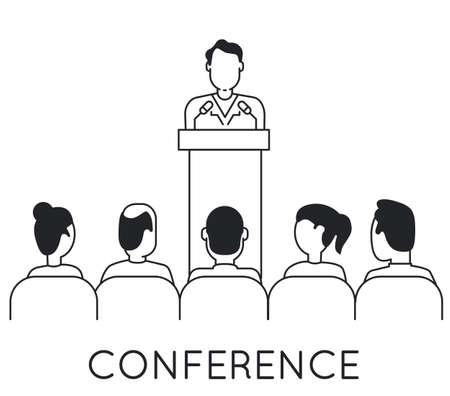 Linear Konzept der Lautsprecher an Business-Konferenz und Präsentation. Publikum und Teilnehmer