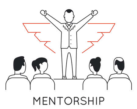 Linear Concept of Mentorship, Career Progress, Business People Training and Professional Consulting Service