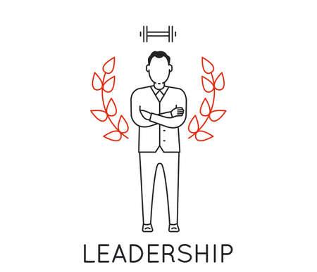 autonomia: Concepto lineal de liderazgo, autonomía y competencia Vectores