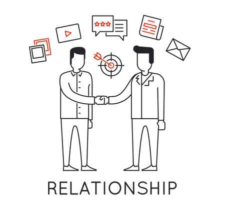 Concepto lineal de Negocios interacción, relación, discusión y negociación para la continuidad de negocio exitoso Ilustración de vector