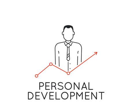 puntualidad: Vector del concepto lineal del desarrollo personal y profesional progreso