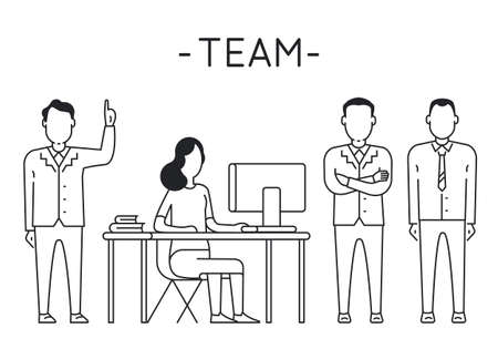 intent: Linear Vector Concept of Business People Teamwork, Human Resources, Career Opportunities, Team Skills Illustration