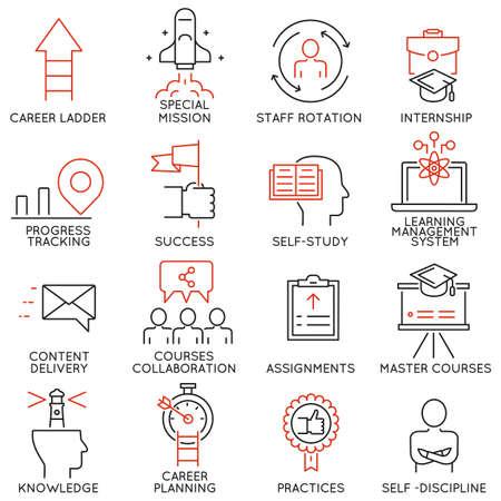 성공, 리더십 개발, 경력 진행, 기업 관리, 전문 컨설팅 서비스 및 개인 훈련을 위해 노력하는 것과 관련된 16 선형 얇은 아이콘 벡터 세트. 모노 라인 그 일러스트
