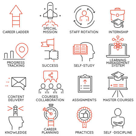 Vector set of 16 linear thin icons related to striving for success, leadership development, career progress, corporate management, professional consulting service and personal training. Mono line pictograms and infographics design elements - part 4 Illustration