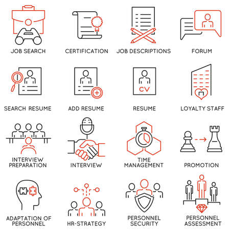 probation: Vector set of 16 linear thin icons related to striving for success, leadership development, career progress, corporate management, professional consulting service and personal training. Mono line pictograms and infographics design elements - part 5