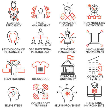 Vector set of 16 linear thin icons related to striving for success, leadership development, career progress and personal training. Mono line pictograms and infographics design elements - part 6