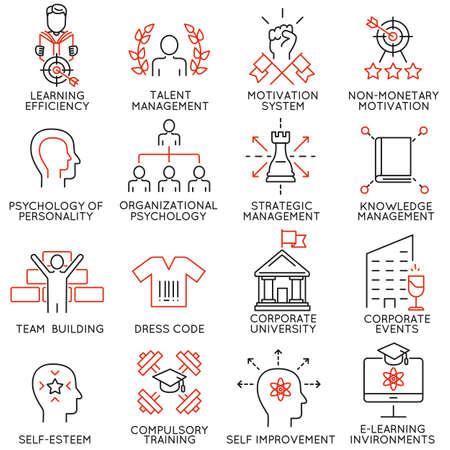 Conjunto de vectores de 16 iconos finas lineales relacionados con la lucha por el éxito, el desarrollo de liderazgo, desarrollo de la carrera y entrenamiento personal. pictogramas mono de línea y la infografía elementos de diseño - Parte 6 Ilustración de vector