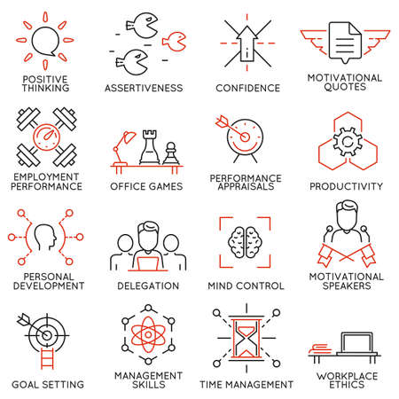 Vector set of 16 linear thin icons related to striving for success, leadership development, career progress and personal training. Mono line pictograms and infographics design elements - part 7