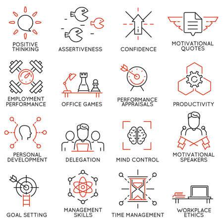 Vector set van 16 lineaire dunne pictogrammen met betrekking tot het streven naar succes, de ontwikkeling van leiderschap, carrière vooruitgang en persoonlijke training. Mono lijn pictogrammen en infographics design elementen - deel 7