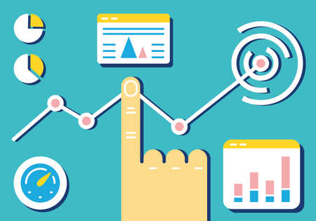 emarketing: Flat linear design modern vector illustration of analytics and e-management of data on dashboard. Infographics banner