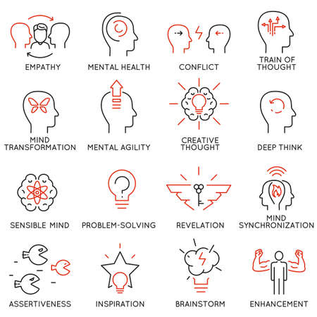 Vector set of 16 linear thin icons related to striving for success, leadership development, career progress and personal training. Mono line pictograms and infographics design elements - part 8