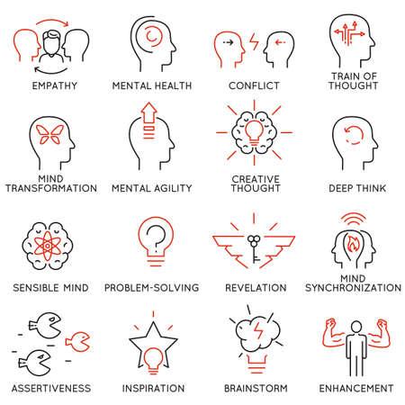 Vektor-Set von 16 linearen dünnen Symbole in Bezug auf das Streben nach Erfolg, Führungsentwicklung, Karrierefortschritt und Personal Training. Mono Linie Piktogramme und Infografik-Design-Elemente - Teil 8