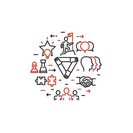 Vecteur mince conception de la ligne de gens d'affaires le travail d'équipe, la croissance du développement de l'équipe, la recherche de la réussite, la culture d'entreprise et de l'équipe bâtiment moderne concept de vecteur d'illustration, isolé sur fond blanc Banque d'images - 65214603