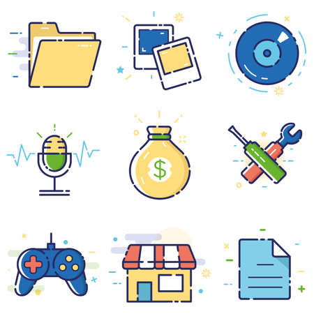 inducement: Vector modern stylish flat linear icons set of basic, office, marketing items, business management, social media for web and app design and development - part 4