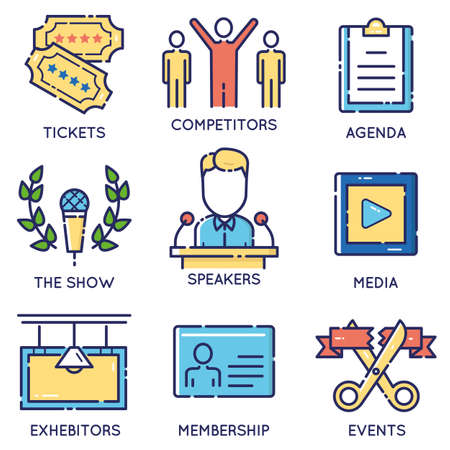 responsible: Vector modern stylish flat linear icons set of event management, event service and special event organization for app and web design navigation - part 1