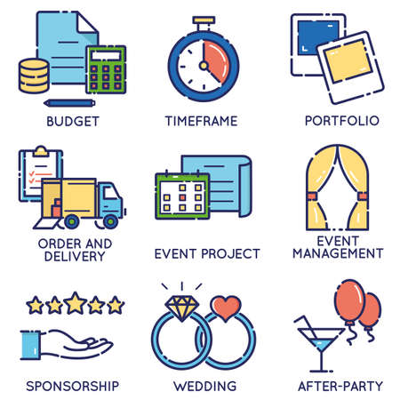 sponsorship: Vector modern stylish flat linear icons set of event management, event service and special event organization for app and web design navigation - part 2
