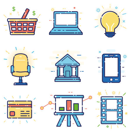 Vector modern stylish flat linear icons set of basic, office, marketing items, business management, social media for web and app design and development - part 6