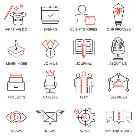 Vector set of 16 icons related to business management, marketing, maintain and service. Mono line pictograms and infographics design elements for app and web design navigation - part 1 Ilustrace