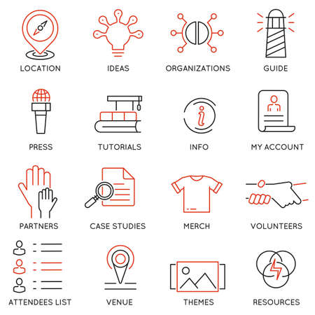 voluntary: Vector set of 16 icons related to business management, marketing, maintain and service. Mono line pictograms and infographics design elements for app and web design navigation - part 3