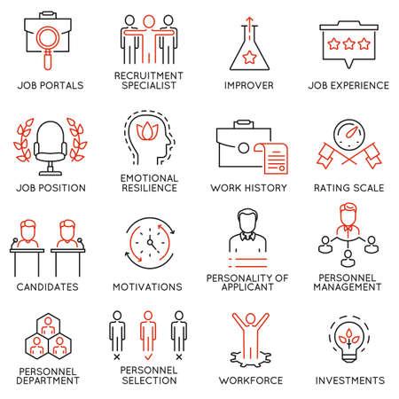 alkalmasság: Vektor készlet 16 ikonok kapcsolódó üzleti menedzsment, stratégia, szakmai előmenetel és az üzleti folyamatok. Mono vonal piktogramok és infographics design elemek - 51 Illusztráció