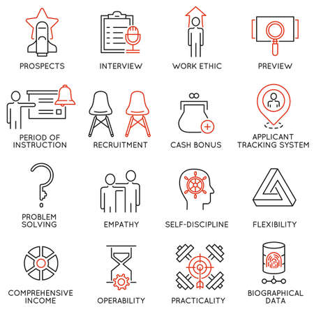 career management: Vector set of 16 icons related to business management, strategy, career progress and business process. Mono line pictograms and infographics design elements - 52