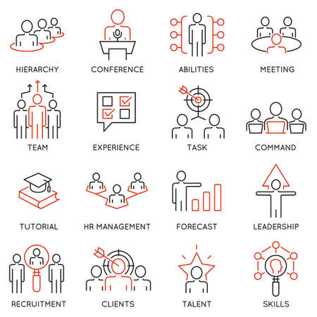 initiator: Vector set of 16 icons related to business management, strategy, career progress and business process. Mono line pictograms and infographics design elements - 54 Illustration