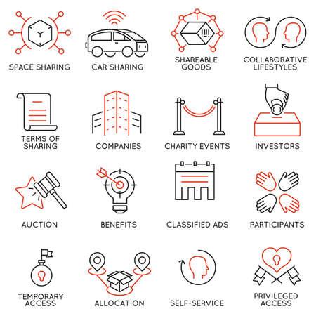 Conjunto de 16 iconos finos relacionados con el altruismo, la cooperación, el consumo colaborativo y el voluntariado. Mono línea pictogramas y elementos de diseño infografía - parte 2