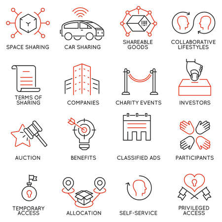 Vector set of 16 thin icons related to altruism, cooperation, collaborative consumption and volunteering. Mono line pictograms and infographics design elements - part 2