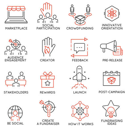 Set of 16 thin icons related to crowdfunding, crowdsourcing, fundraising and support. Mono line pictograms and infographics design elements