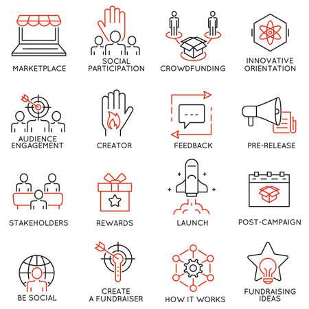 Zestaw 16 cienkich ikon związanych z crowdfunding, crowdsourcing, pozyskiwania funduszy i wsparcia. piktogramy liniowe mono i infografiki elementy projektu