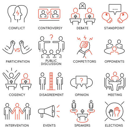 critique: Vector set of 16 thin icons related to controversy, discussion and competition. Mono line pictograms and infographics design elements