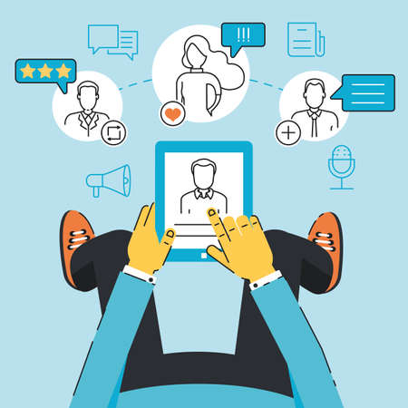 critique: Vector linear flat concept of communication, negotiation, interaction with customers and users through a mobile applications or web technology