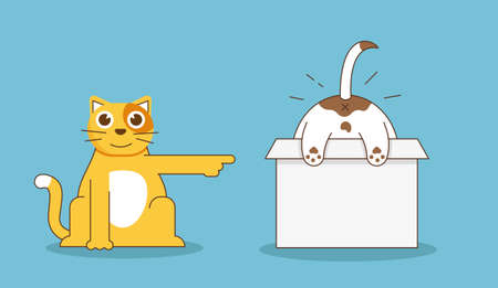 ridicule: Funny relationship of cat and dog - flat linear illustration