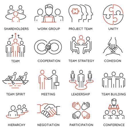 비즈니스 프로세스, 팀 작업 및 인적 자원 관리와 관련된 선형 아이콘 세트. 모노 라인 그림 및 인포 그래픽 디자인 요소