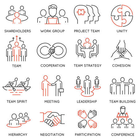 Set di icone lineari relative al processo aziendale, al lavoro di squadra e alla gestione delle risorse umane. Pittogrammi mono line e elementi di design infografici Archivio Fotografico - 65944475