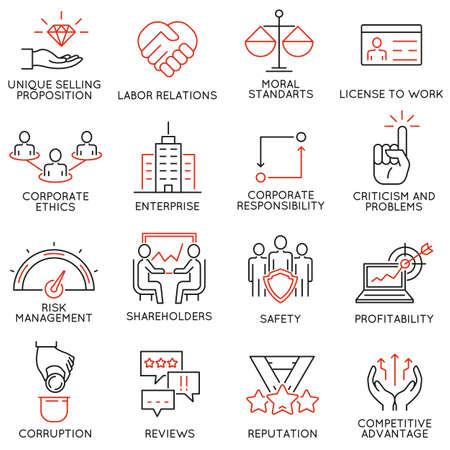 relaciones laborales: Conjunto de 16 iconos relacionados con la ética en los negocios, gestión, estrategia y desarrollo. pictogramas mono de línea y la infografía elementos de diseño - Parte 1 Vectores