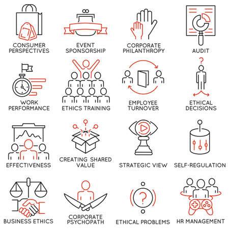 Set de 16 icônes liées à l'éthique des affaires, la gestion, la stratégie et le développement. pictogrammes mono-ligne et des infographies éléments de conception - Partie 2 Vecteurs
