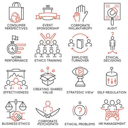 Set of 16 icons related to business ethics, management, strategy and development. Mono line pictograms and infographics design elements - part 2