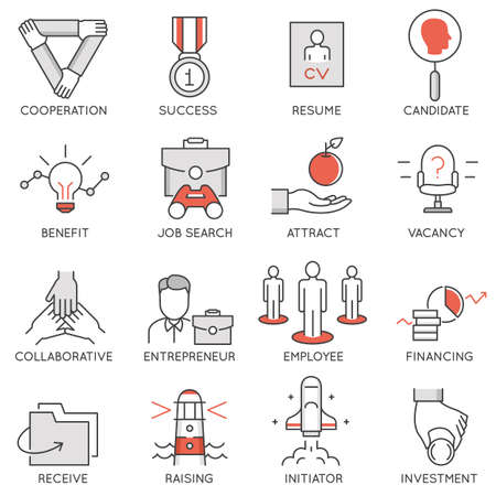 initiator: Vector set of flat linear icons related to business management, strategy, career progress and business process. Mono line flat pictograms and infographics design elements - 1