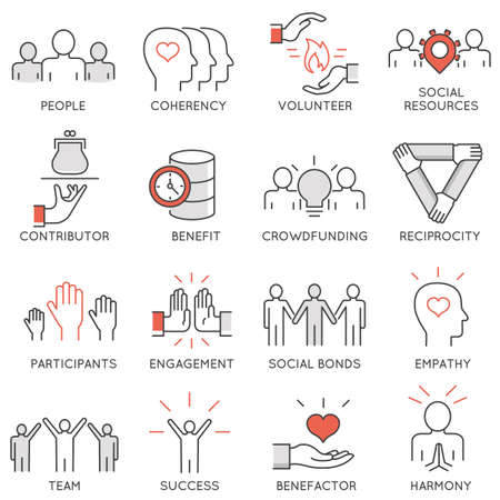 Vector set of 16 thin icons related to altruism, benevolence, human responsible and beneficence. Altruism, Benevolence Icons. Mono line pictograms and infographics design elements