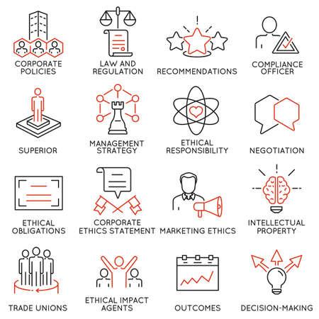 ビジネス倫理、管理、戦略、開発に関連する 16 のアイコンのセットです。モノラル ライン絵文字やインフォ グラフィック デザイン - パート 3