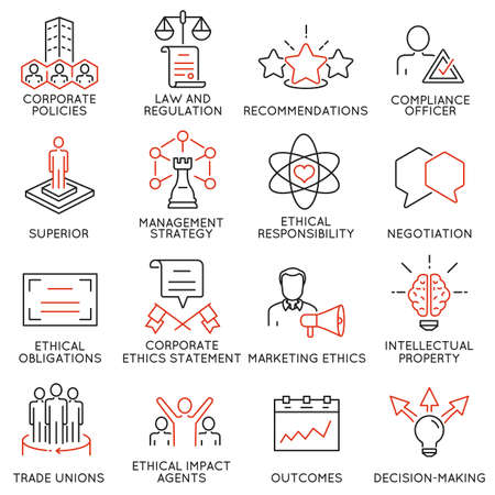 set of 16 icons related to business ethics, management, strategy and development. Mono line pictograms and infographics design elements - part 3