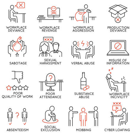 Vector set of 16 icons related to business ethics, organizational behavior in the workplace and workplace incivility. Mono line pictograms and infographics design elements - part 1