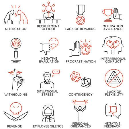 Vector set van 16 pictogrammen gerelateerd aan business ethics, organisatorisch gedrag op de werkplek en onbeschikbaarheid op de werkplek. Mono-lijnpictogrammen en infographics-ontwerpelementen - deel 2 Stock Illustratie